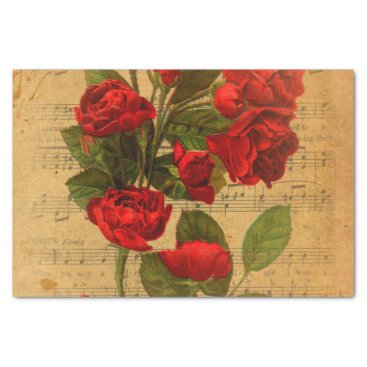 Cafe_Parchment Victorian Music Sheet Watercolor Rose Wallpaper