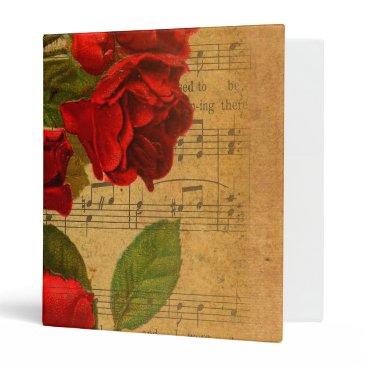 Cafe_Parchment Victorian Music Sheet Watercolor Rose Wallpaper Binder