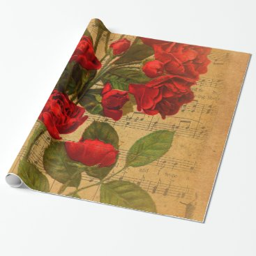 Cafe_Parchment Victorian Music Sheet Watercolor Rose Wallpaper Wrapping Paper