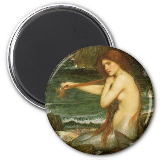 Victorian Mythology Art, Mermaid by JW Waterhouse 2 Inch Round Magnet