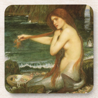 Victorian Mythology Art, Mermaid by JW Waterhouse Beverage Coaster