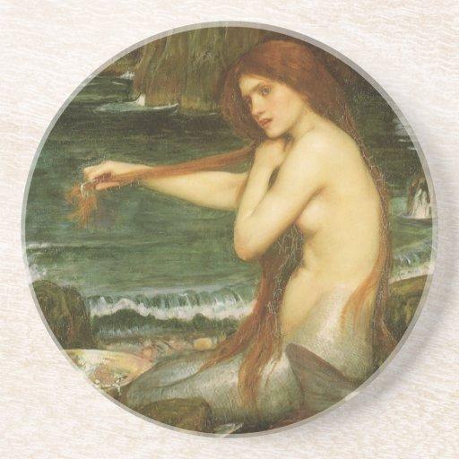Victorian Mythology Art, Mermaid by JW Waterhouse Beverage Coaster