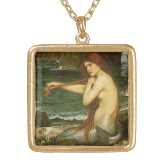 Victorian Mythology Art, Mermaid by JW Waterhouse Gold Plated Necklace