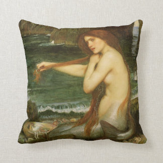 Victorian Mythology Art, Mermaid by JW Waterhouse Throw Pillow