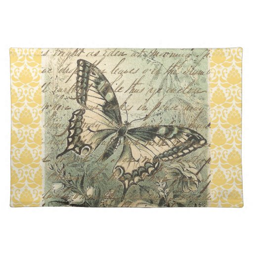 Victorian Natural Butterfly Collage Placemat