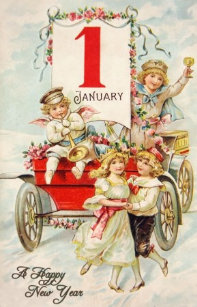victorian new year greeting card