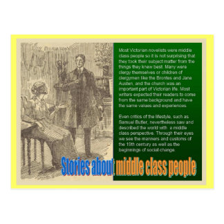 Victorian novels,stories about middle class people postcard