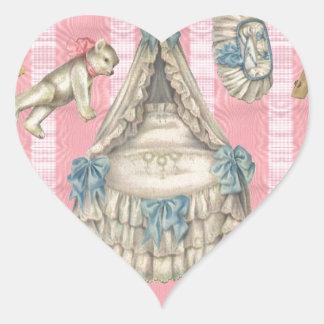 Victorian Nursery Paper Dolls Heart Sticker