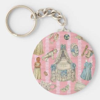 Victorian Nursery Paper Dolls Key Chain