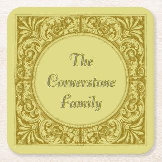 Victorian Ornamental Corners, Customizable Name Square Paper Coaster
