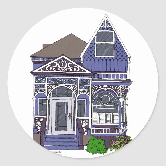 Victorian Painted Lady - Blue Classic Round Sticker