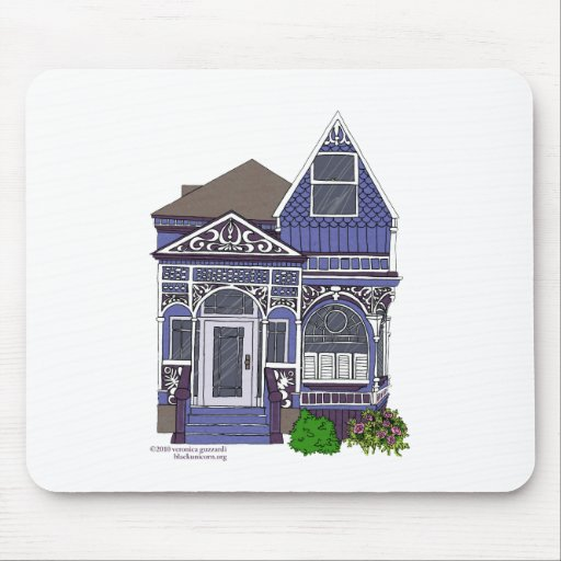 Victorian Painted Lady - Blue Mouse Pad