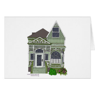 """Victorian """"Painted Lady"""" - green Greeting Card"""