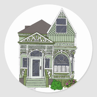 """Victorian """"Painted Lady"""" - green Classic Round Sticker"""