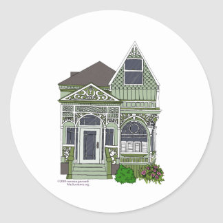 "Victorian ""Painted Lady"" - green Classic Round Sticker"