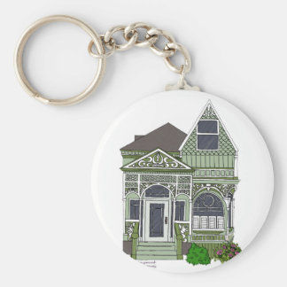 "Victorian ""Painted Lady"" - green Basic Round Button Keychain"