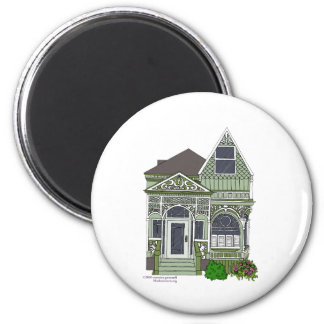 "Victorian ""Painted Lady"" - green Magnet"