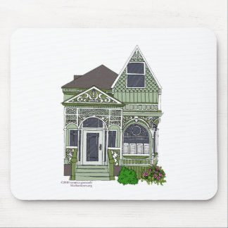 """Victorian """"Painted Lady"""" - green Mouse Pad"""