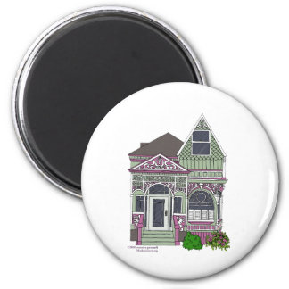 Victorian Painted Lady - Green/Pink 2 Inch Round Magnet