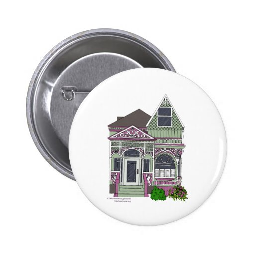 Victorian Painted Lady - Green/Pink Pinback Buttons