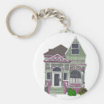 Victorian Painted Lady - Green/Pink Key Chains