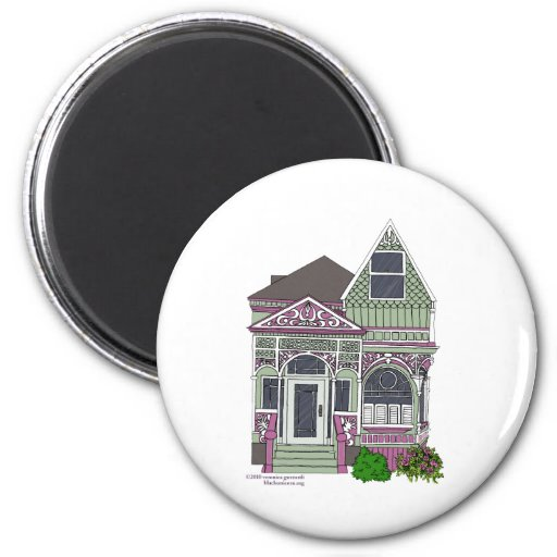 Victorian Painted Lady - Green/Pink Magnet