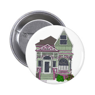 Victorian Painted Lady - Green/Pink Pinback Button