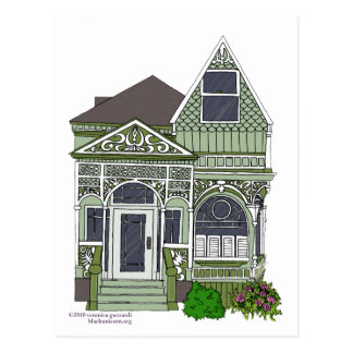 """Victorian """"Painted Lady"""" - green Postcard"""