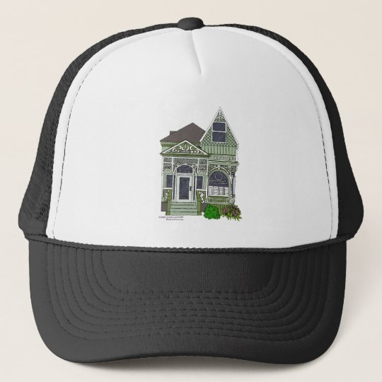 """Victorian """"Painted Lady"""" - green Trucker Hat"""