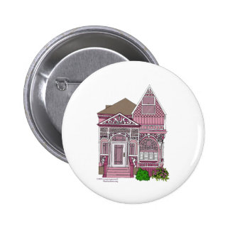 """Victorian """"Painted Lady"""" - pink 2 Inch Round Button"""