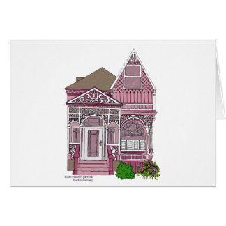 """Victorian """"Painted Lady"""" - pink Greeting Card"""