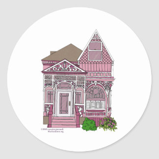"Victorian ""Painted Lady"" - pink Classic Round Sticker"