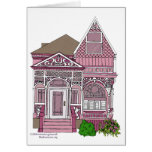 """Victorian """"Painted Lady"""" - pink Greeting Cards"""