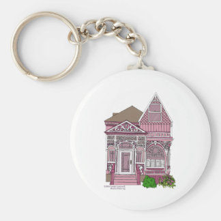 """Victorian """"Painted Lady"""" - pink Basic Round Button Keychain"""