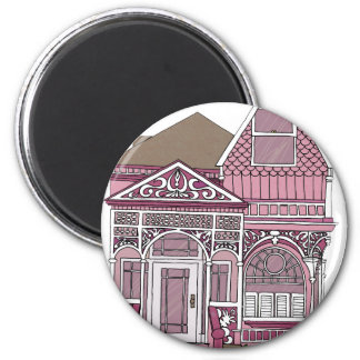 """Victorian """"Painted Lady"""" - pink 2 Inch Round Magnet"""