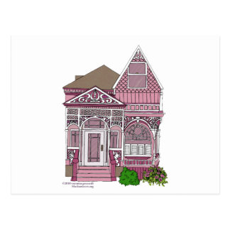 """Victorian """"Painted Lady"""" - pink Postcard"""