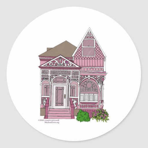 """Victorian """"Painted Lady"""" - pink Stickers"""