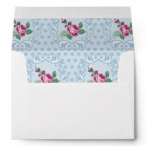 Victorian,pale blue,polka dot,pink roses,pattern, envelope