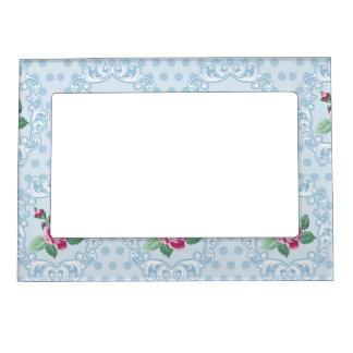 Victorian,pale blue,polka dot,pink roses,pattern, picture frame magnet