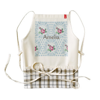 Victorian,pale blue,polka dot,pink roses,pattern, zazzle HEART apron