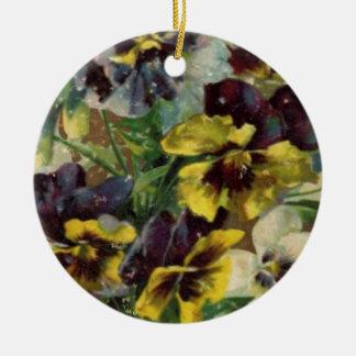Victorian Pansies Ceramic Ornament