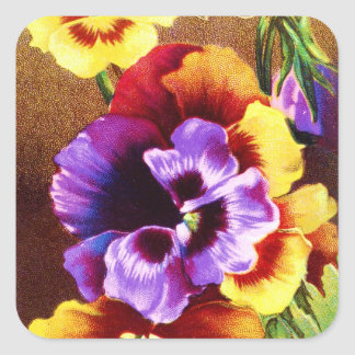 Victorian Pansies Square Sticker