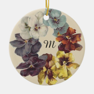 Victorian Pansy Ring Floral Ceramic Ornament