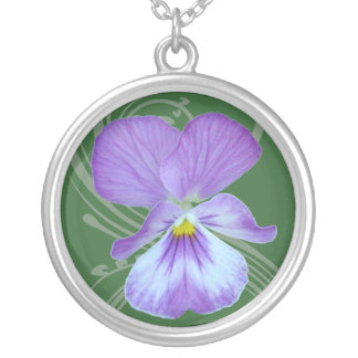 Victorian Pansy Round Pendant Necklace