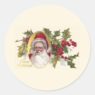 Victorian Papá Noel, del vintage navidad c.1906 Pegatina Redonda