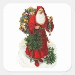 Victorian Papá Noel Calcomanía Cuadradas Personalizadas