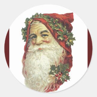 Victorian Papá Noel Pegatina Redonda