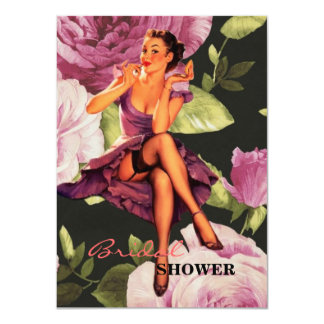 victorian Paris Botanical purple Rose Pin Up Girl Card