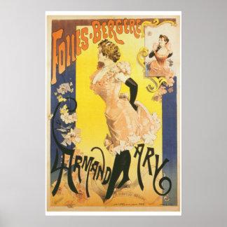 Victorian Parisian cabaret dancer France vintage Print