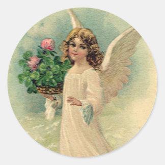 Victorian Pascua, flores angelicales del vintage Etiquetas Redondas